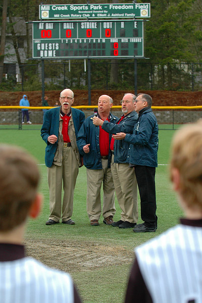 Snohomish County Windjammers Barbershop Chorus sings National Anthem before the game