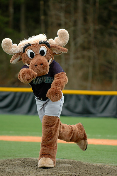 The Mariner Moose throws out the first pitch