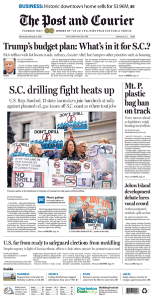 February 14, 2018 Cover of The Post and Courier