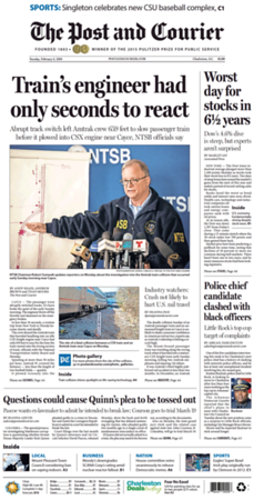 February 6, 2018 Cover of The Post and Courier