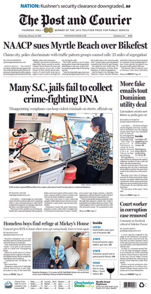 February 28, 2018 Cover of The Post and Courier
