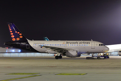 Brusselss Airlines Airbus A319-112 OO-SSQ SN:3790 as filght SN2826 at BUD Terminal 2A towed out for taxi
