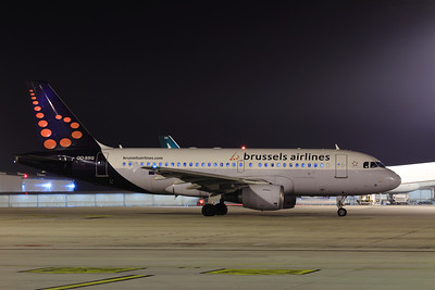 Brusselss Airlines Airbus A319-112 OO-SSQ SN:3790 as flight SN2826 at BUD Terminal 2A preparing for taxi out