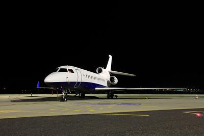 GlobalJet Dassault Falcon 7X LX-ISR SN229 in storage at BUD Terminal 1