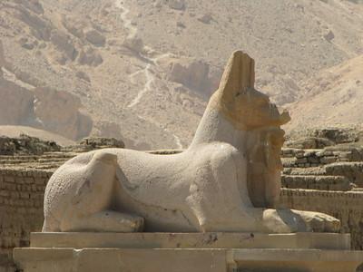 Sakálfejű szfinx másolata a Ramesszeum bejáratánál