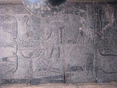 Panteisztikus Ozirisz-Amon, négy kosfejjel - és további égi lények, a görög-római korra jellemző kavalkádban