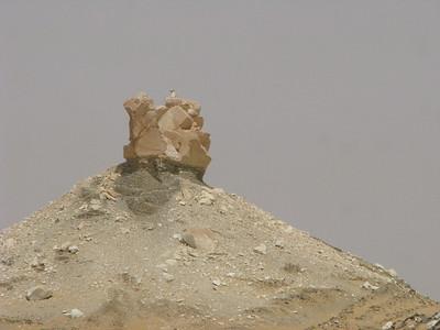 Teve alakú szikla a Fehér-sivatagban - némi emberi rásegítéssel