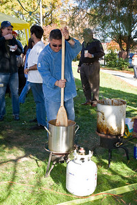 Brent  Barronofsky stirs some first place winning chili.