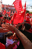 FMLN supporters waited in the midday sun for hours just for the opportunity to see presidential candidate Mauricio Funes speak.  The European Union and Organization of American States, as well as many other international observer brigades, have declared the elections free and fair despite many documented instances of voter irregularities on election day as well as the available avenues for large-scale institutional fraud by ARENA. Nevertheless, the presiding ARENA party lost by an astonishingly close 2.5%. By 10.30pm election night Avila had already given his concession speech and the US ambassador had congratulated Funes in person.