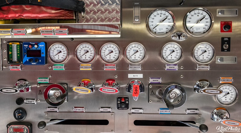Gauges, knobs, levers and switches adorn OCFA's Engine 19, a 2013 KME Fire Apparatus that serves the city of Lake Forest and is based out of Fire Station 19.