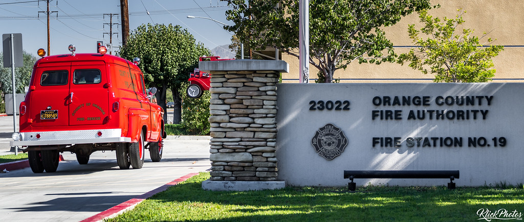 An older model GMC paramedic van restored by the Orange County Professional Firefighters Association is driven Code 3 in OCFA's Fire Station 19 parking parking lot.