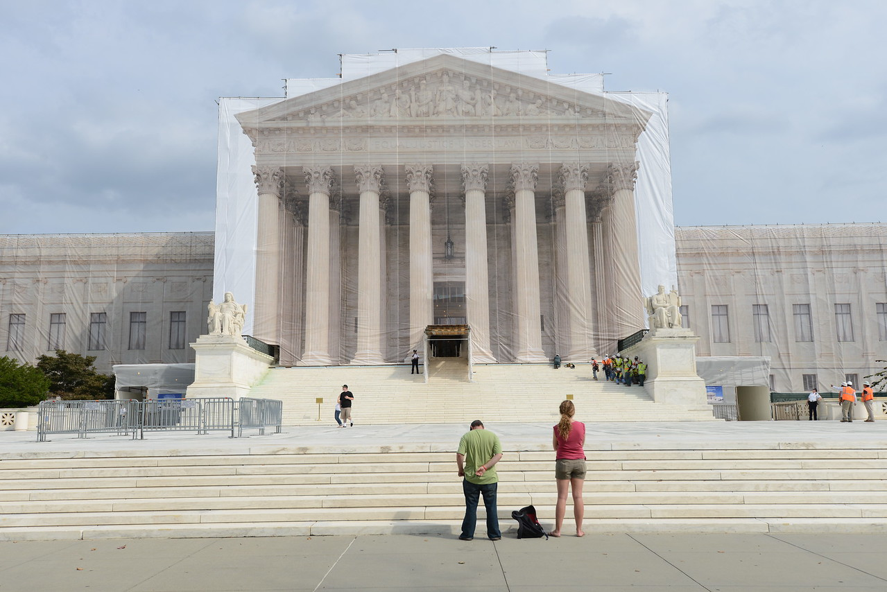 09.27.12- WASHINGTON, DC- Photo of the front facade of the Supreme Court Building, where the renovation scaffolding has been wrapped in a dust cloth that has been printed to look like the building. (Maximilian Franz/The Daily Record).