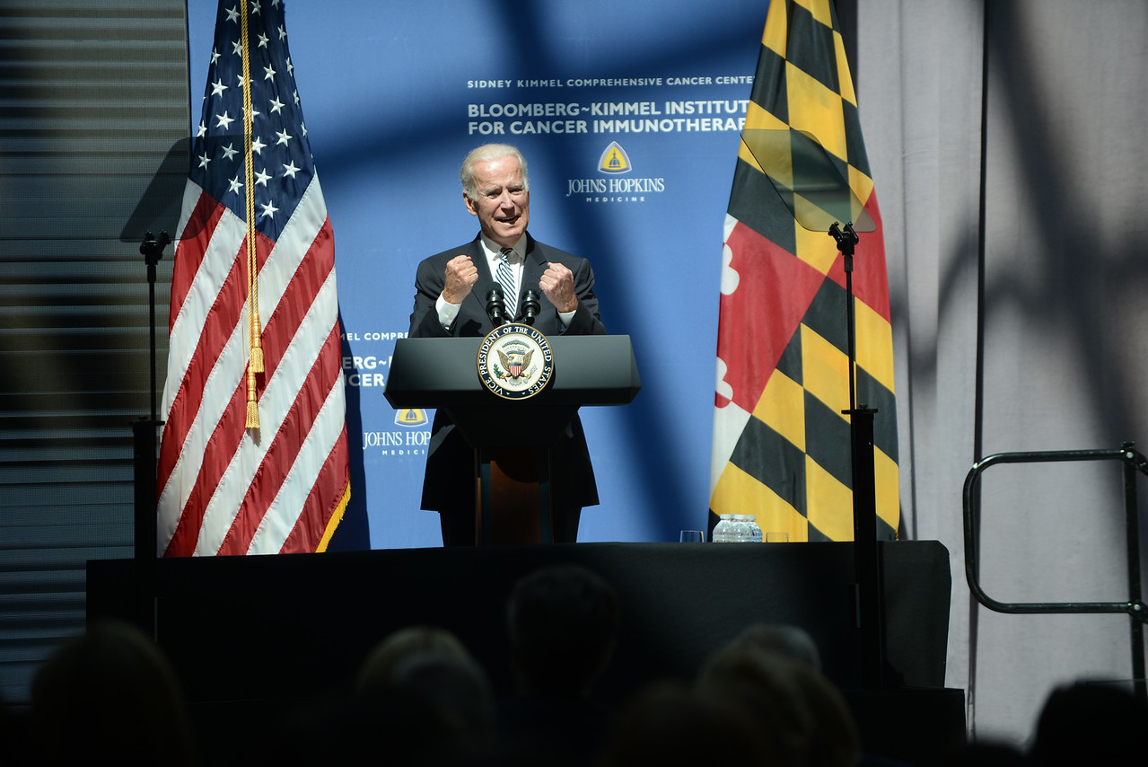 3.29.2016 BALTIMORE, MD- Vice President Joe Biden, speaking at the launch of the Bloomberg- Kimmel Institute for Cancer Immunotherapy at Johns Hopkins, said it would be the key to finding new treatment to cure cancer. (The Daily Record/Maximilian Franz)