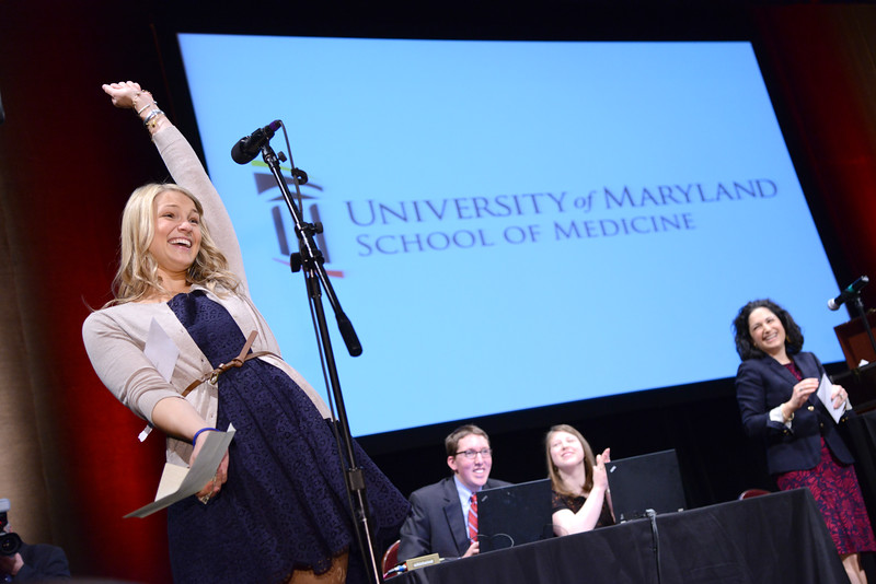 3-21-14 BALTIMORE, MD- Heather Lillemoe, reading to the crowd that she was accepted to Vanderbuilt for General Surgery. Photo taken at the University of Maryland Medical System's Match Day, which was held at the Hippodrome Theater on March 21st, 2014. (The Daily Record/Maximilian Franz)