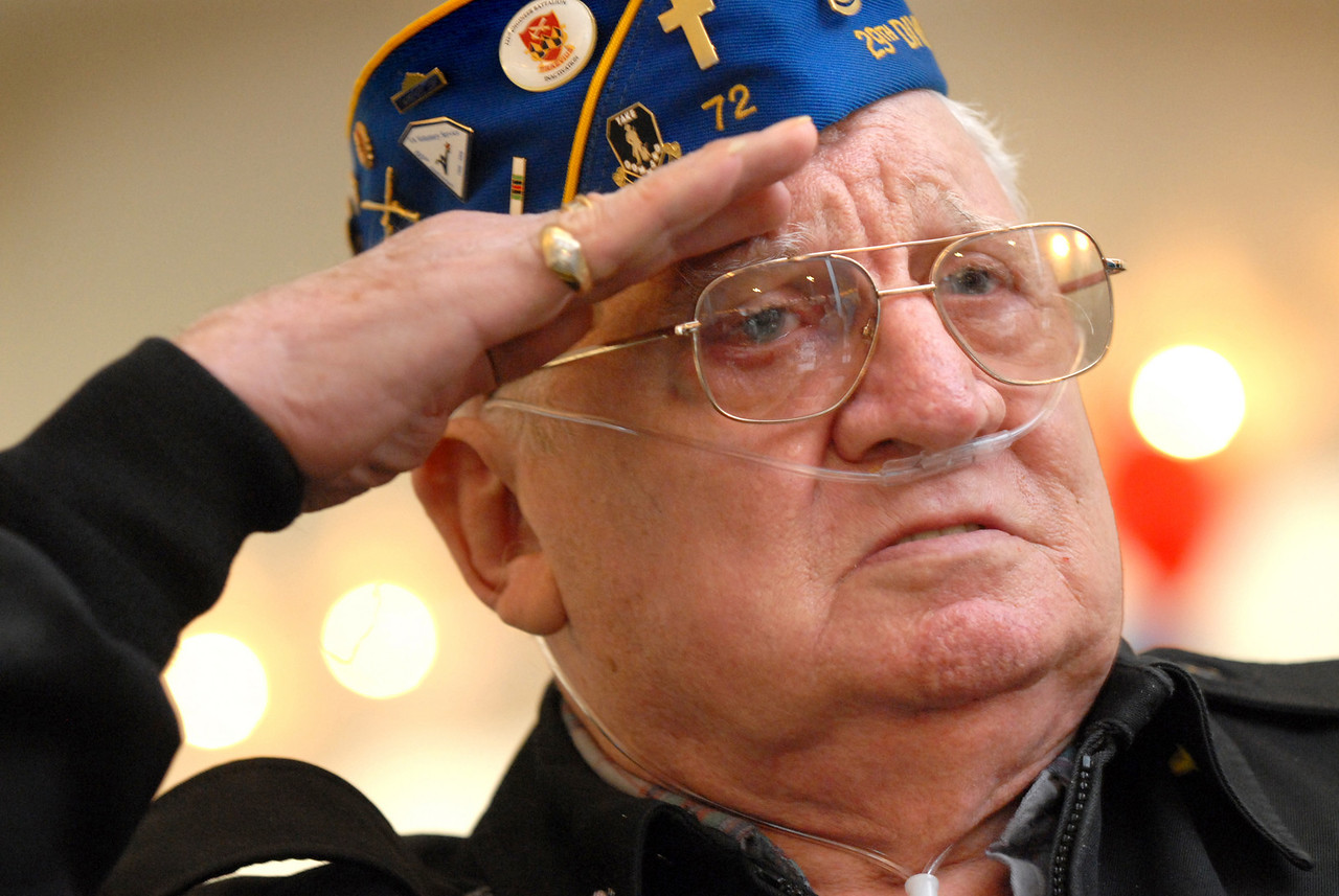 Alfred Vecchioni, veteran from World War II in the 29th Infantry Division that Stormed Omaha Beach on D-Day. He is a resident of Glen Burnie and a 16 year volunteer with the VA of Maryland. He is currently on the waiting list for a home in Bayside at FT howard. Maximilian Franz/The Daily Record <br /> 11/20/06.