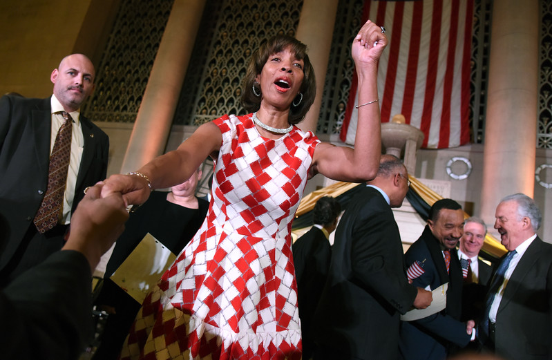 Mayor Catherine Pugh celebrates with the crowd after her inauguration on Tuesday December 6th, 2016 inside of the War Memorial Building in Batlimore. (The Daily Record/Maximilian Franz)