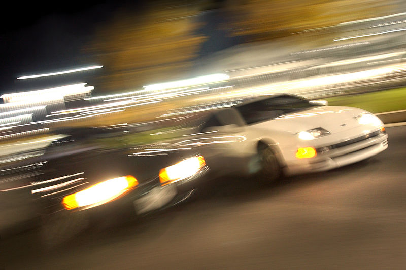 Shot of two cars ingaged in street racing in White Marsh, MD. Maximilian Franz/The Daily Record  11/7/05.