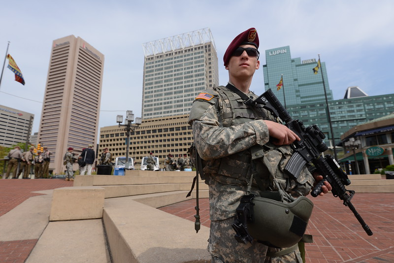04.30.15 BALTIMORE, MD- National Guard Specialist Hunter Olson, Charlie company 1-158 LRS in Hagerstown, MD, seen here at his post at the Inner Harbor Amphitheatre. The Daily Record/Maximilian Franz)