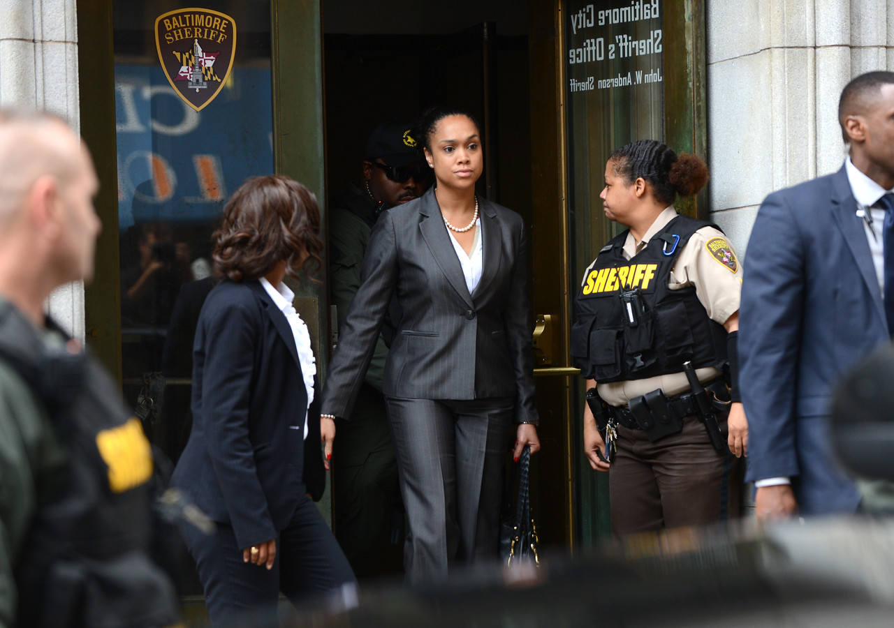 6.23.2016 Baltimore, MD- Baltimore City States Attorney Marilyn Mosby leaves the circuit court Thursday morning after Judge Barry Williams aquitted Officer Caesar Goodson on all charges in connection with the death of Freddie Gray. (The Daily Record/Maximilian Franz)