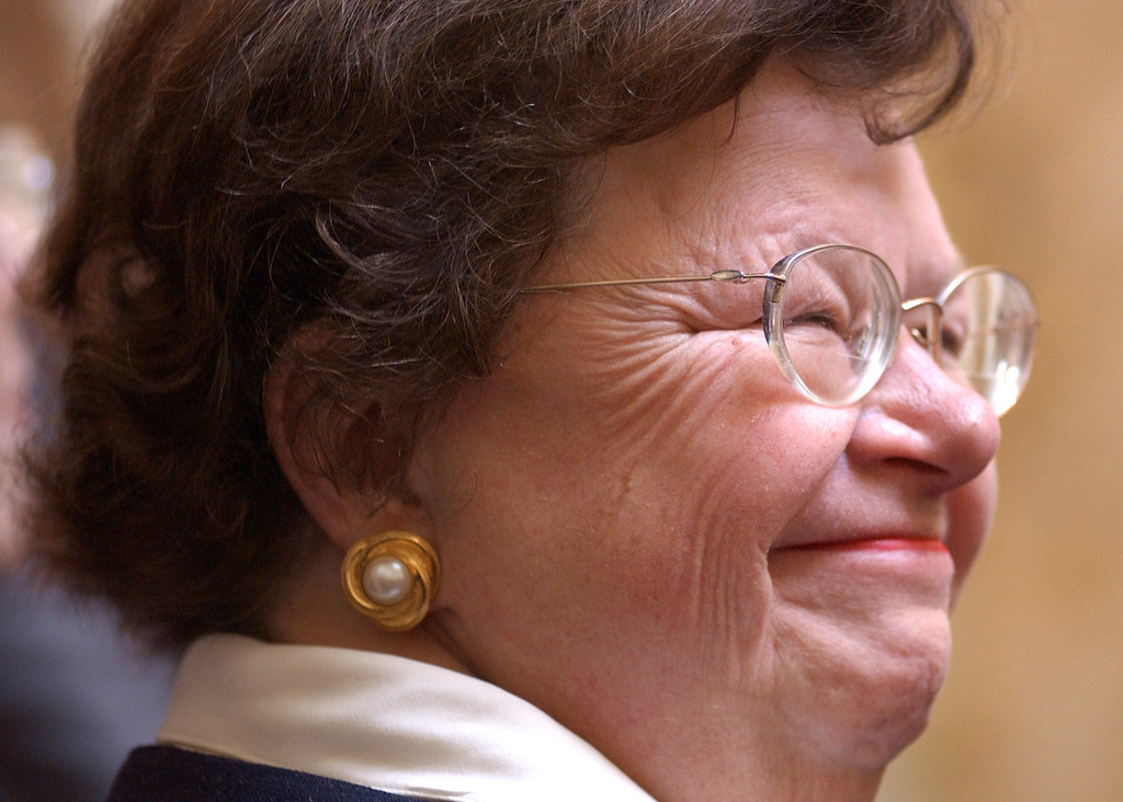 Barbara Mikulski smiling at a friend in the crowd at the opening of the Maryland General Assembley in 2004. Maximilian Franz/The Daily Record