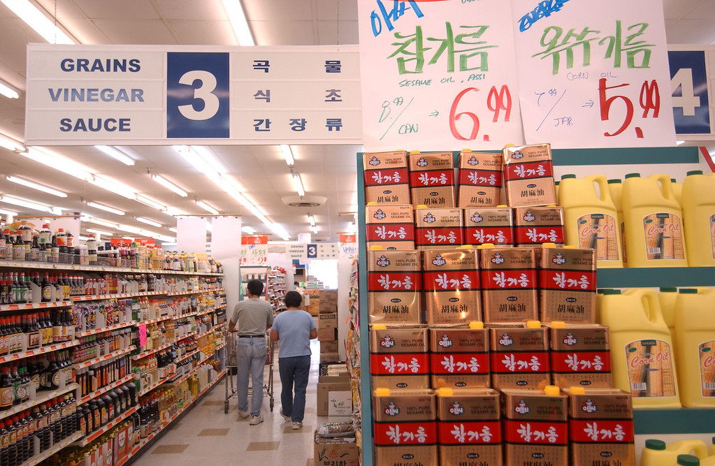 The packaged goods section at the Lotte Plaza Asian Market in Ellicott City. Maximilian Franz/The Daily Record  11/4/03.