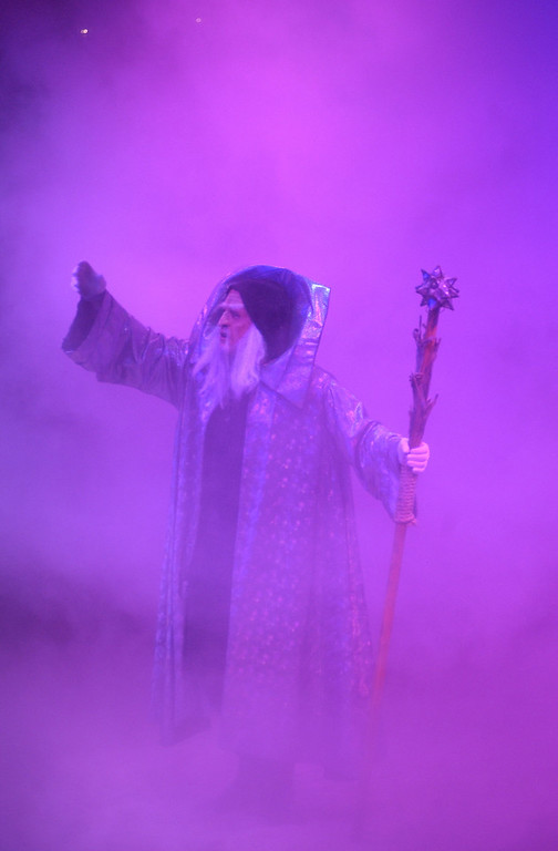 Merlin makes an appearence in colorful smoke at Medeval Times in Arundel Mills Mall. Maximilian Franz/The Daily Record
