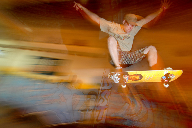 Jason Chapman, owner of Charm City Skate Park launching off a ramp on his Skateboard in Baltimore, MD. Maximilian Franz/The Daily Record