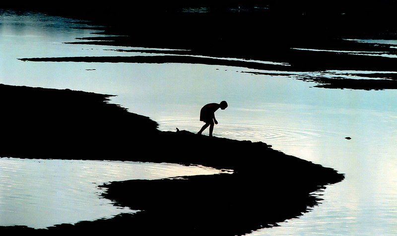 Crabbing along the Ogunquit River at dusk.