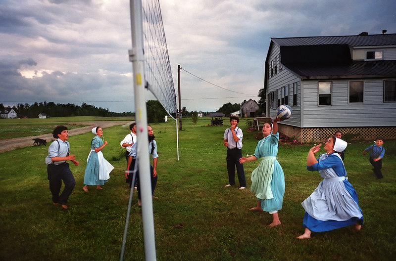 An Amish family's evening volleyball game in Smyrna.