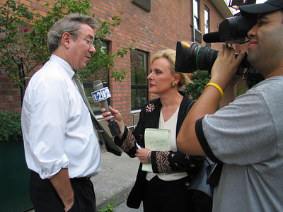 State Senator John D. Sabini is interviewd by Marcia Kramer of CBS Channel 2 News in Elmhurst, NY.  Photo © Shams Tarek (shams.m.tarek@gmail.com)