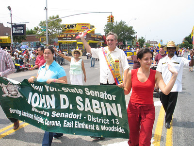 State Senator John D. Sabini marches in the 2005 Ecuadorian Day Parade in Jackson Heights, NY.  Photo © Shams Tarek (shams.m.tarek@gmail.com)