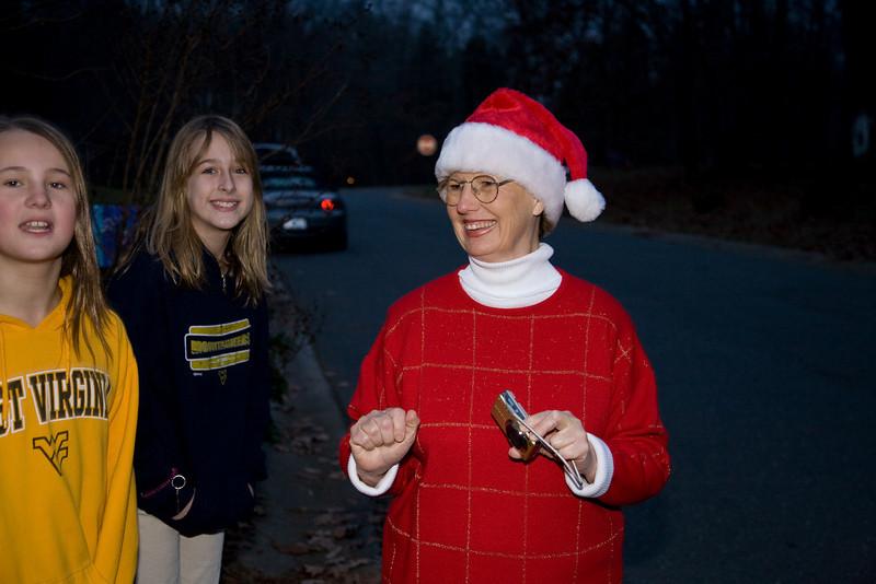 Sharon Decker in santa hat.