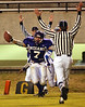 With 2:38 left in the first quarter, Port Neches-Groves High School running back Josh Cook (7) celebrates in the endzone after scoring the first touchdown of the game shortly after the Indians scored a field goal Friday night making the score 10-0 as they take on the CE King High School Panthers Friday night at Stallworth Stadium in Baytown during the first round of class 4A playoffs.<br /> PHOTO/SCOTT ESLINGER         NOV 12, 2004