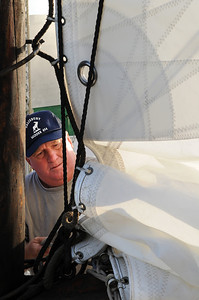 """The Captain of the """"Fannie L. Dougherty"""" Plays his part to prepare his ship as well. Photo By Maximilian Franz 9-07-09"""