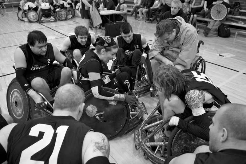 The Texas Stampede Wheelchair Rugby Team gets fired up before a match during the Texas Thunder Invitational Tournament in Cedar Park, Texas.
