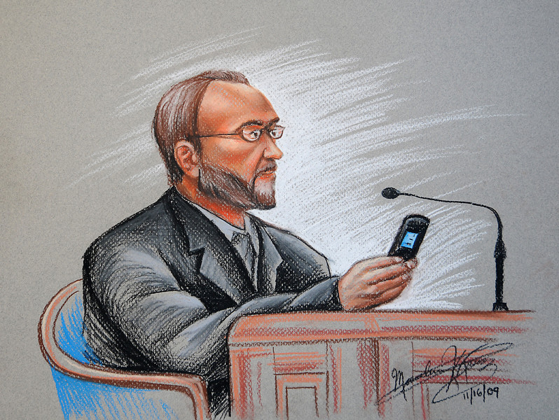 Day 3-  Pat Turner, head of Turner Development Group, sitting on the wittness stand during the Sheila Dixon trial. Here he uses reading glasses borrowed from defense attorney Dale P. Kelberman to check his cell phone contact number for Sheila Dixon. Art by Maximilian Franz/ The Daily Record. 11-16-09