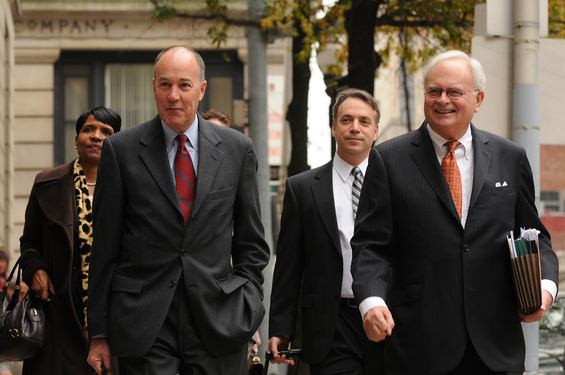 Arnold Weiner and his team of lawyers, walking into the Baltimore City Circuit Courthouse after a lunch break during the second day of Jury selection for the Sheila Dixon trial.  Photo by Maximilian Franz 11-10-09