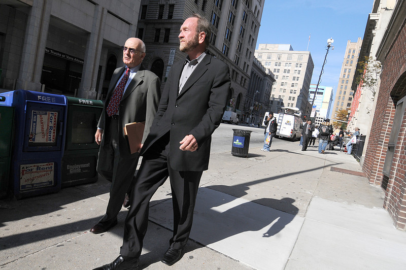 L and R- Jerard P. Martin, Attorney, and Patrick Turner, head of Turner Development Group walk down Calvert street after sitting on the witness stand during the Trial of Sheila Dixon.  Photo by Maximilian Franz 11-16-09