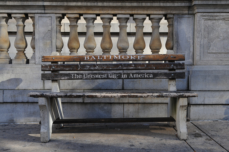 12-01-09 Baltimore, MD- One of the park benches outside of the Baltimore City Circuit Courthouse after the jury found her guilty on the 4th count, dealing with the Holly Trolly Gift Cards.  Photo by Maximilian Franz/ The Daily Record