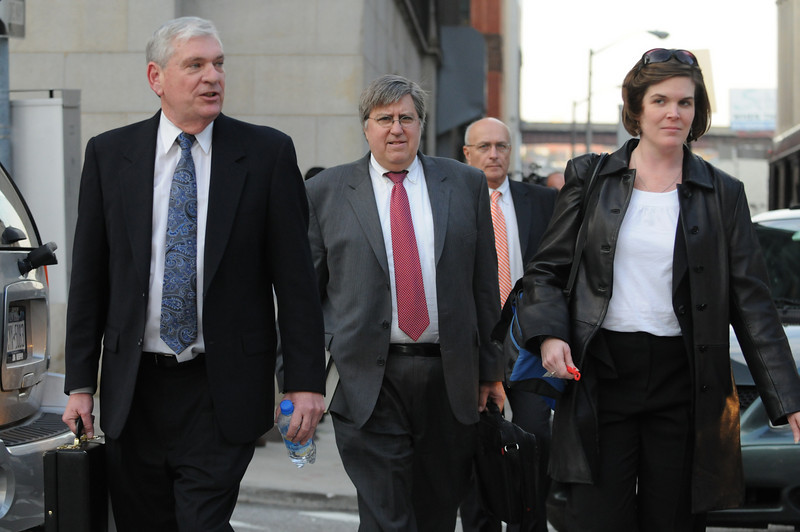 L to R- Robert Rohrbaugh, States Attorney; Thomas 'Mike' McDonough; John Poliks, investigator for the state prosecution; and  Shelly Glenn, Senior Assistant State Prosecutor Shots outside of the Baltimore City Circuit Courthouse East on Friday November 20th, while the press waited for the jury to come back from  deliberation.  Photo by Maximilian Franz 11-20-09.