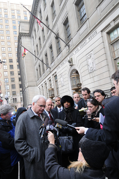 01/06/10 BALTIMORE, MD- Attorneys giving statements outside of the Baltimore City Circuit Courthouse after a plea bargain was reached in Mayor Sheila Dixons Case. Photo by Maximilian Franz/ The Daily Record