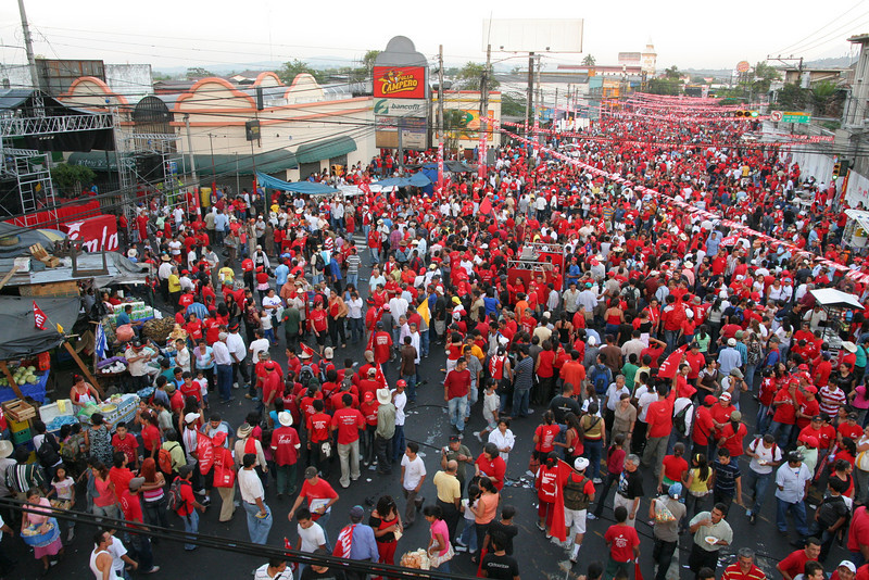 Over 250,000 FMLN (Farabundo Martí National Liberation Front) supporters gather at the Closing of The Campaign rally the weekend before the March 15th, Salvadoran Presidential elections between Leftist FMLN candidate Mauricio Funes and right-wing ARENA (Republican National Alliance) candidate Rodrigo Avila. On election day, millions of Salvadorans lined up for their turn to vote in arguably the most contested and historically important elections in Salvadoran history. By 8.30pm election night, it was apparent that Funes of the FMLN, the 1980s armed-leftist-guerrilla-group-turned-political-party, had won. El Salvador will be governed by a leftist government for the first time in history starting June 1st, and for the first time, Salvadorans will have a peaceful, democratic transfer of power.