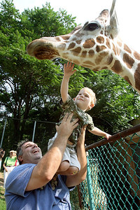 "Chris Ammann/Baltimore Examiner Joe Dellarocco, of Severn, lifts his son Zachary, 2, so he can pet ""Angel,"" a nine-year-old giraffe, during ""Breakfast with the Giraffes"" at the Maryland Zoo in Baltimore on Sunday, July 2, 2006."