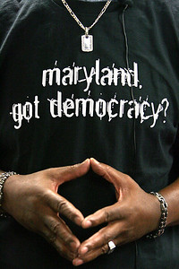 "Walter Lomax, of Baltimore, wears his campaign shirt during a press conference of the ""Maryland Got Democracy"" campaign at the Baltimore City Board of Elections on Monday, July 2, 2007. Chris Ammann/Examiner"