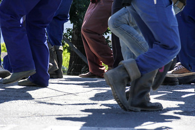 boots and shoes, striking farm workers toyi-toyi