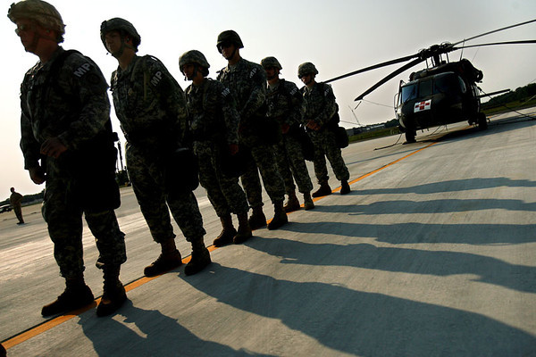 Members of the Maryland National Guard's Initial Reaction Force line up to board a Black Hawk helicopter at Weide Army Airfield at the Aberdeen Proving Ground in Edgewood on Friday, Sept. 07, 2007. The unit was en route to a homeland security exercise in Baltimore. Chris Ammann/Examiner