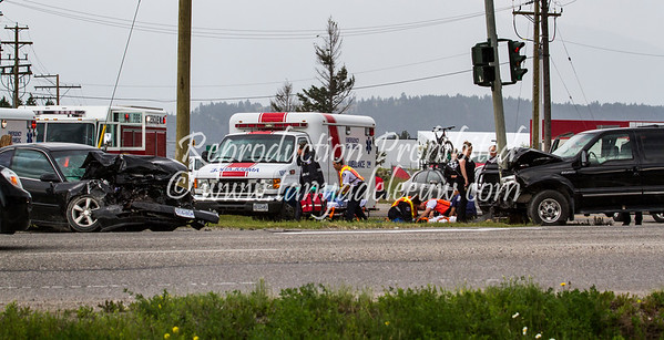 Traffic accident at the intersection of Highway 93/95 and Athalmer Road, Invermere, BC. July 2011