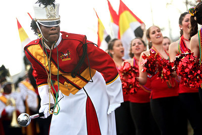 Chris Ammann/Baltimore Examiner Drum major Charlotte Tubman, a graduate of  Baltimore City College High School,  leads the University of Maryland marching band in their truck cadence during the Krewe of Alla's 75th Anniversary Carnival through the Gretna and Algiers suburbs on Saturday, Jan. 6, 2007.