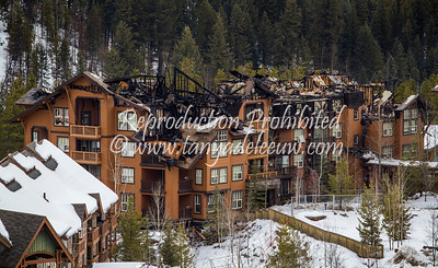 The remains of 1000 Peaks Lodge, Panorama, after a major fire. February 2013