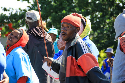 Striking farm workers toyi-toyi and protest for an increase in minimum wages